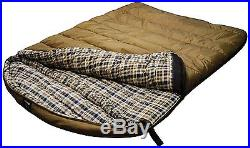 2 Person Sleeping Bag Camping Ripstop Travel Tan Grizzly Double 0 F Degree New