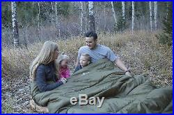Double Sleeping Bag 2 Person Camping Hiking Huge Outdoor Summer Gear Green New
