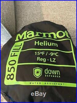 Excellent Marmot Helium 15 Degree 850 Fill Down Sleeping Bag Reg Left Zip