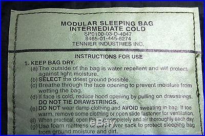 Genuine US Military GORETEX BIVY Modular Sleeping Bag System 4pc Excellent Cond