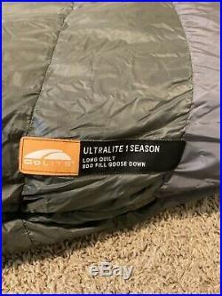 GoLite Ultralite 1 Season Backpacking Quilt 800 Fill Down Sleeping Bag Sz. LONG