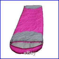 Hot Pink Envelope Camping Hiking Outdoor Sleeping Bag Travel Sleep Gear 3 Season