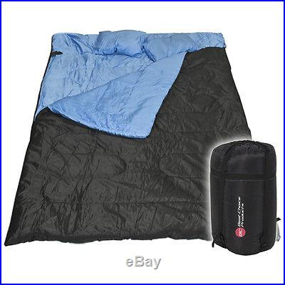 Huge Double Sleeping Bag 23F/-5C 2 Person Camping Hiking 86x60 W/2 Pillows New