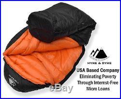 Hyke & Byke Eolus 0°F 800-Fill Power Down Sleeping Bag for Backpacking, NEW