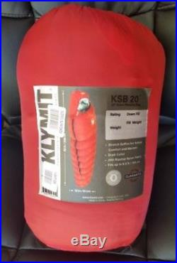 KLYMIT KSB 20 degree DOWN Sleeping Bag RED with stretch baffles NEW