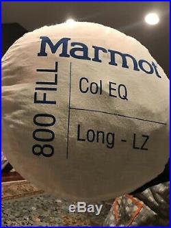 Marmot Col EQ Long Left Zip Down Sleeping Bag -20 F/-29 C 800 Goose Down