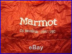 Marmot Col MemBrain Long -20 Degree Down Sleeping Bag Orange EUC