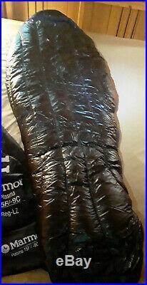Marmot Plasma 15 Regular Left 900fp Goose Down Sleeping Bag Euc