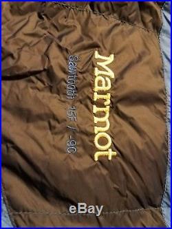 Marmot Sawtooth 15 Degree Mummy Long Left Zip 600 Fill Down Sleeping Bag 3 lbs
