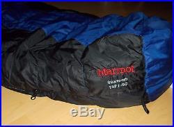 Marmot Sawtooth -9c DOWN REGULAR Hooded Sleeping Bag 85.5 x 33 MINT
