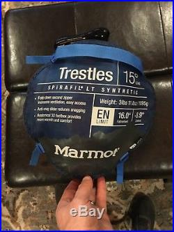 Marmot Trestles 15 Degree Down Sleeping Bag Blue Long Length Used Once