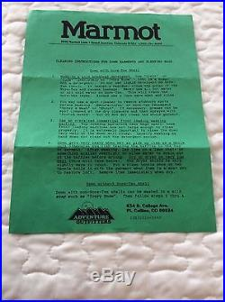 Marmot snowgoose Goretex and down sleeping bag -5 deg F, vintage 1990's