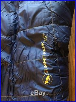 Mens Big Agnes Summit Park 15° 15 Degree Sleeping Bag Long Goose Down 650 Fill