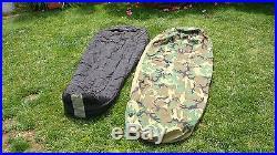 Military Intermediate Cold Sleeping Bag & GorTex Camoflauge Bivy Cover