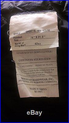 Mountain Hardwear Ghost SL Sleeping Bag -40 Degree Down Regular Right Zip