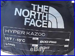 NEW! The North Face Down Hyper Kazoo Sleeping Bag Long, Right Hand, 15F
