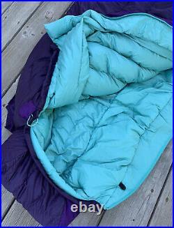 NWT! Big Agnes Ethel Women's 0 Degree Down Sleeping Bag Regular Right Zip Purple