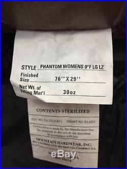 NWT Mountain HardWear Women PHANTOM 0F/-18C LONG 800 Fill Down Sleeping Bag $650