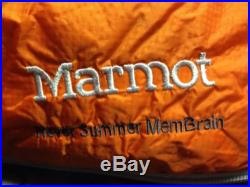 New Marmot Never Summer Membrain 650 Fill Down Sleeping Bag Left Zip