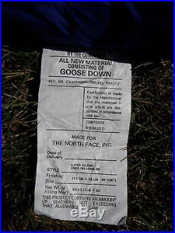 North Face LONG Blue Super Kazoo GOOSE DOWN Sleeping Bag Long RH 86x30 10°