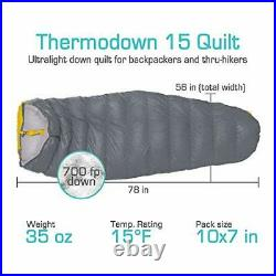 Paria Outdoor Products Thermodown 15 Degree Down Sleeping Quilt for Adults