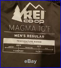 REI Magma 10F Mens Ultralight Regular Sleeping Bag 850 Down Fill