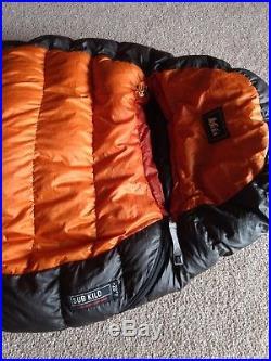 REI Sub Kilo 20 Degree Long Sleeping Bag 750 Down 30 oz Goosedown Mummy Mens