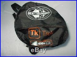 Sea to Summit Trek tk1 long sleeping bag 32F 0C 650 down with comp. Sack leftzip