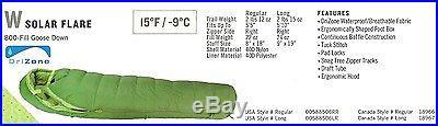 Sierra Designs Bag, Wmn's Reg, Solar Flare 15 Deg, 800 Fill Down, DriZone
