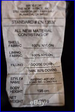The North Face -40F-40C Inferno Long sleeping bag Zip right 850+ grey goose down