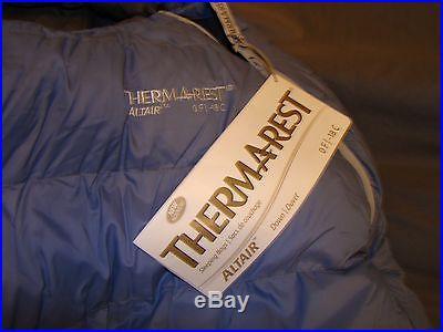 Thermarest Altair Zero Degree 0 F Down Sleeping Bag Cascade Designs 2 lbs 9 oz