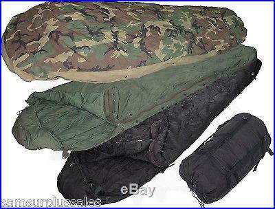 US Military 4 Piece Modular Sleeping Bag Sleep System MSS Very Good w/Flaws