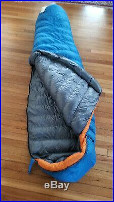 Unused Feathered Friends Swallow UL (long) 20-degree mummy bag, 950+ goose down