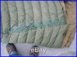 VINTAGE MILITARY DOWN MUMMY BAG OLIVE DRAB SLEEPING BAG with WOOL LINER
