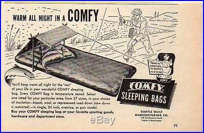 Vtg RARE 1952' COMFY SEATTLE Quilt Co DOWN Long Sleeping BAG BEDROLL w/TENT NR
