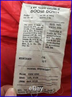 Vtg REI 100% 3 lb fill Down Sleeping Bag 90 x 33 Long LHZ Left Zip