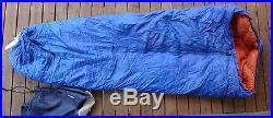 Vtg ROEBUCK & CO DOWN 83 x 33 RETRO SLEEPING BAG ORANGE BLUE Mountain Goose rei