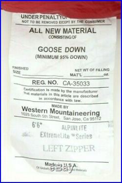 Western Mountaineering Alpinlite 20 Degree Down Bag 6'6/Left Zip /42729/
