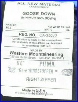Western Mountaineering Puma Gore WS Sleeping Bag -25F Down, 6'6/RZ /51546/