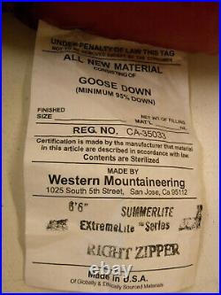 Western Mountaineering Summerlite EXtremeLite Series Right Zipper