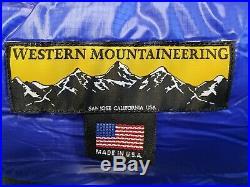 Western Mountaineering UltraLite 6' sleeping bag, L Zip, Royal Blue, Brand New