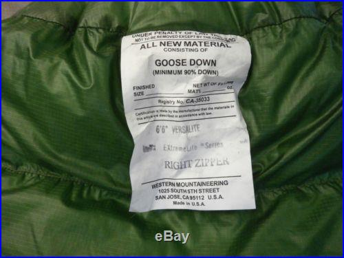 Western Mountaineering Versalite 10 Sleeping Bag (6'6 RZ) NEW