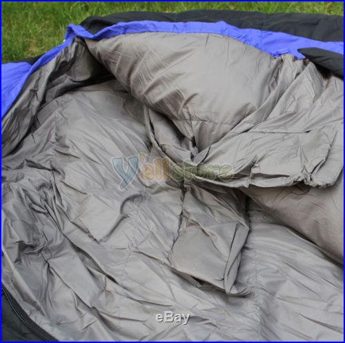 Winter -10 to -25 Degree Sleeping Bag Black+Blue Camping Outdoor Duck Down