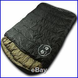 Wolftraders TwoWolves +0 Degree 2-Person Premium Comfort Sleeping Bag, Black/Tan