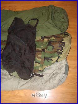 XLNT COND Army Sleeping Bag Modular Sleep MSS System Woodland ACU Bivy Military